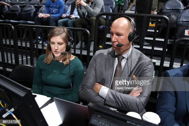 WNBA player Lindsay Whalen of the Minnesota Lynx is seen commentating before the game against the Philadelphia 76ers on December 12 2017 at Target...