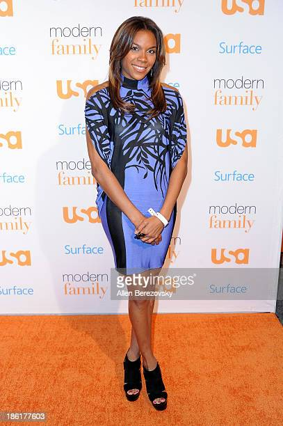 WNBA player Lindsey Harding arrives at the Modern Family Fan Appreciation Day hosted by USA Network at Westwood Village on October 28 2013 in Los...