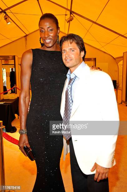 WNBA player Lisa Leslie and actor David Charvet arrive on the red carpet at the 17th annual ESPY Awards held at Nokia Theatre LA Live on July 15 2009...