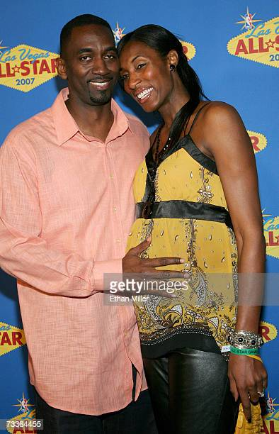 WNBA player Lisa Leslie and her husband Michael Lockwood arrive at the 2007 NBA AllStar Game at the Thomas Mack Center on February 18 2007 in Las...