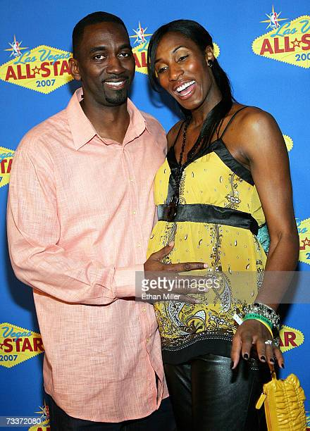 WNBA player Lisa Leslie and her husband Michael Lockwood arrive at the 2007 NBA AllStar Game at the Thomas Mack Center February 18 2007 in Las Vegas...