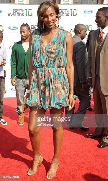 WNBA player Lisa Leslie arrives at the 2010 BET Awards held at the Shrine Auditorium on June 27 2010 in Los Angeles California