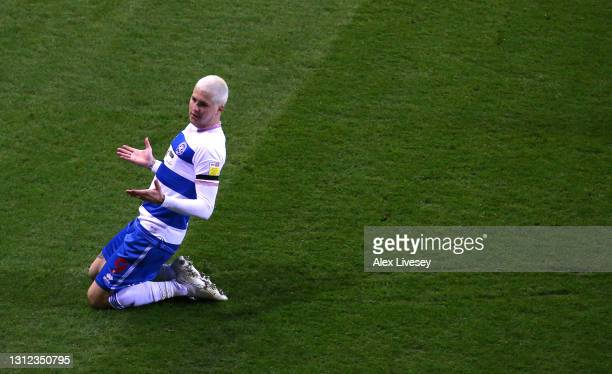 Player Lyndon Dykes celebrates after scoring the opening goal during the Sky Bet Championship match between Rotherham United and Queens Park Rangers...