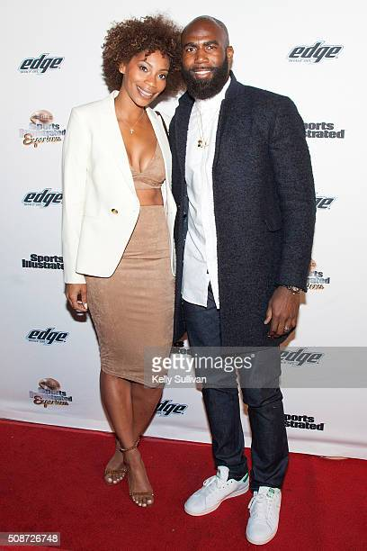 NFL player Malcolm Jenkins and Morrisa Jenkins arrive on the red carpet at the Sports Illustrated Friday Night Party on February 5 2016 in San...