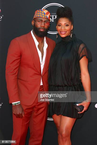 NFL player Malcolm Jenkins and Morrisa Jenkins attend arrive at the 2017 ESPYS at Microsoft Theater on July 12 2017 in Los Angeles California
