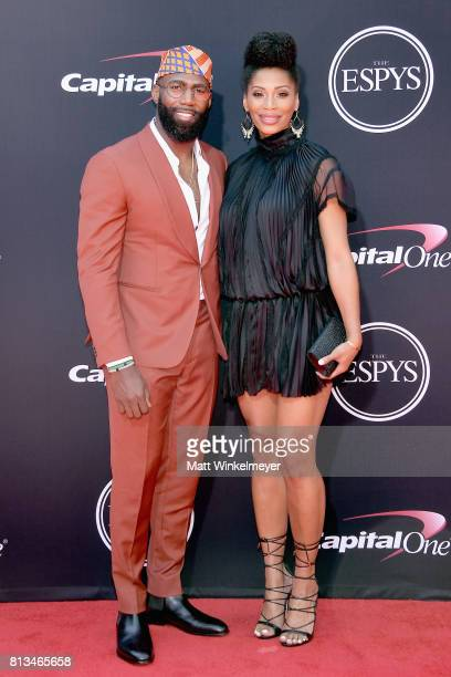 NFL player Malcolm Jenkins and Morrisa Jenkins attend The 2017 ESPYS at Microsoft Theater on July 12 2017 in Los Angeles California