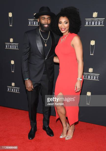 NFL player Malcolm Jenkins and Morrisa Jenkins attend the 8th Annual NFL Honors at The Fox Theatre on February 02 2019 in Atlanta Georgia