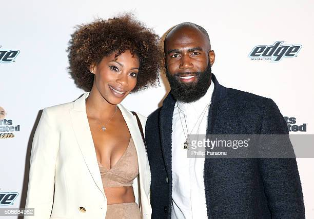 NFL player Malcolm Jenkins and Morrisa Jenkins attend the Sports Illustrated Experience Friday Night Party on February 5 2016 in San Francisco...