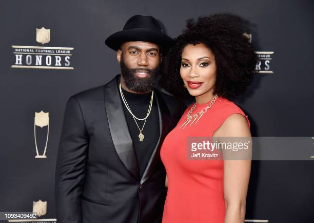 NFL player Malcolm Jenkins and Morrisa Jenkins attends the 8th Annual NFL Honors at The Fox Theatre on February 2 2019 in Atlanta Georgia