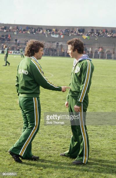 Player manager Johnny Giles of the Republic of Ireland football team with teammate Liam Brady of Arsenal circa 1976