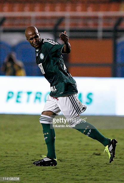 Player Marcos Assuncao of Palmeiras celebrates a scored goal against Coritiba during a match as part of Brazil Cup 2011 at Pacaembu stadium on May...