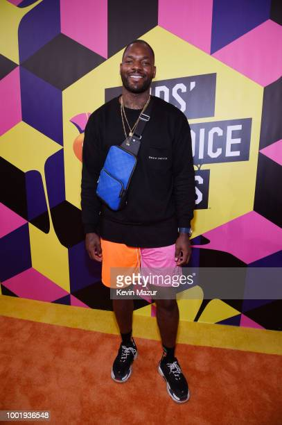 NFL player Martellus Bennett attends the Nickelodeon Kids' Choice Sports 2018 at Barker Hangar on July 19 2018 in Santa Monica California