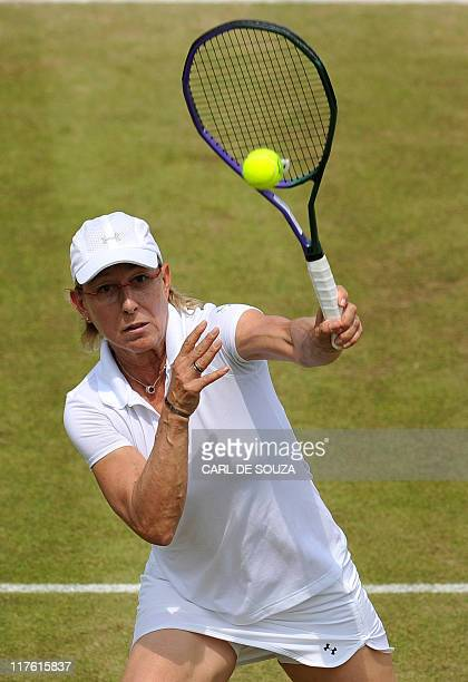 US player Martina Navratilova and Czech player Jana Novotna play against Czech player Helena Sukova and Hungar Andrea Temesvari during Ladies'...