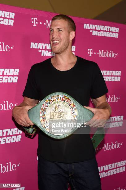 NBA player Mason Plumlee poses with the WBC Money Belt on TMobile's magenta carpet duirng the Showtime WME IME and Mayweather Promotions VIP PreFight...