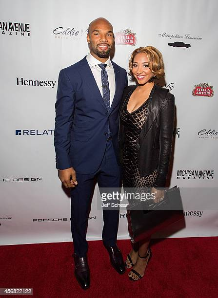 Player Matt Forte and wife Danielle Daniels Forte attend Michigan Avenue Magazine's October Cover Celebration hosted by Chicago Bears Matt Forte at...