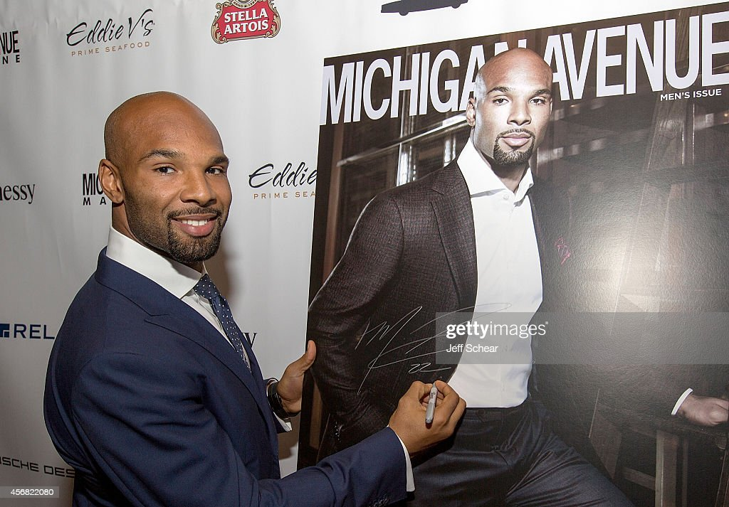 Player Matt Forte attends Michigan Avenue Magazine's October Cover Celebration hosted by Chicago Bears Matt Forte at Eddie V's Prime Seafood on October 7, 2014 in Chicago, Illinois.