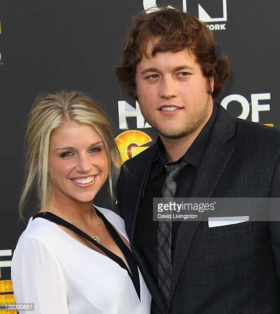 NFL player Matthew Stafford and Kelly Hall attend the 2nd Annual Cartoon Network Hall of Game Awards at Barker Hangar on February 18 2012 in Santa...