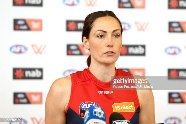 AFLW player Meg Downie speaks during a North Melbourne Kangaroos AFLW Media Opportunity at Arden Street Ground on December 13 2018 in Melbourne...