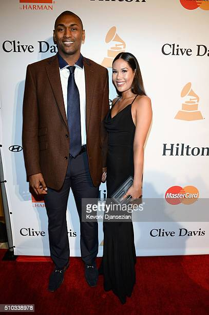 NBA player Metta World Peace and Maya Ford attend the 2016 PreGRAMMY Gala and Salute to Industry Icons honoring Irving Azoff at The Beverly Hilton...