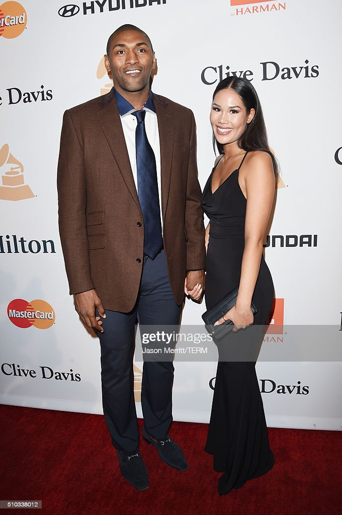 NBA player Metta World Peace (L) and Shin Shin attend the 2016 Pre-GRAMMY Gala and Salute to Industry Icons honoring Irving Azoff at The Beverly Hilton Hotel on February 14, 2016 in Beverly Hills, California.