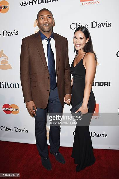 NBA player Metta World Peace and Shin Shin attend the 2016 PreGRAMMY Gala and Salute to Industry Icons honoring Irving Azoff at The Beverly Hilton...