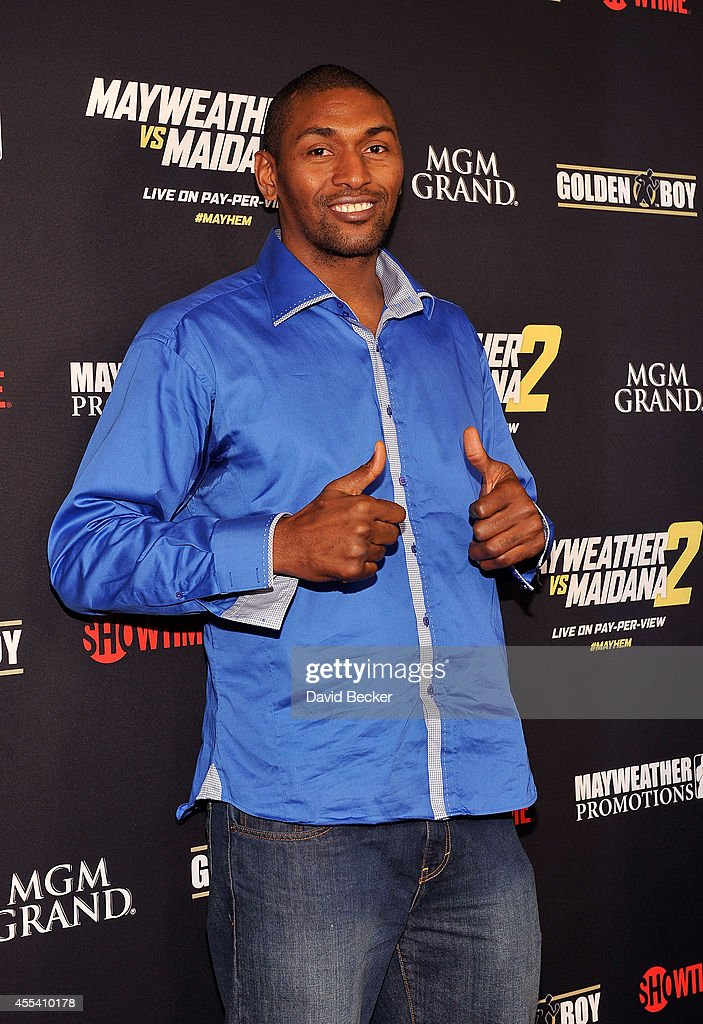 NBA player Metta World Peace arrives at Showtime's VIP prefight party for 'Mayhem: Mayweather vs. Maidana 2' at the MGM Grand Garden Arena on September 13, 2014 in Las Vegas, Nevada.