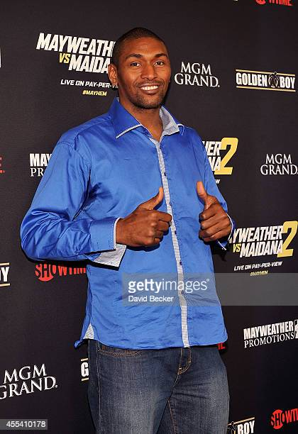 """Player Metta World Peace arrives at Showtime's VIP prefight party for """"Mayhem: Mayweather vs. Maidana 2"""" at the MGM Grand Garden Arena on September..."""
