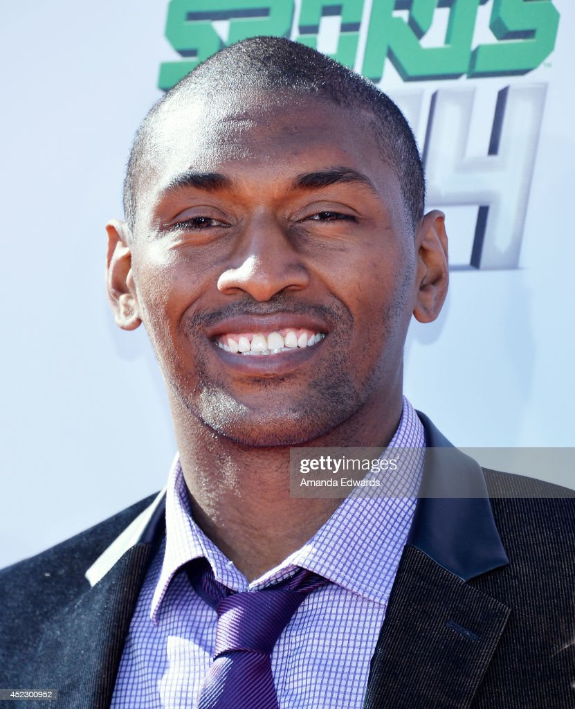 NBA player Metta World Peace arrives at the Nickelodeon Kids' Choice Sports Awards 2014 on July 17, 2014 in Los Angeles, California.