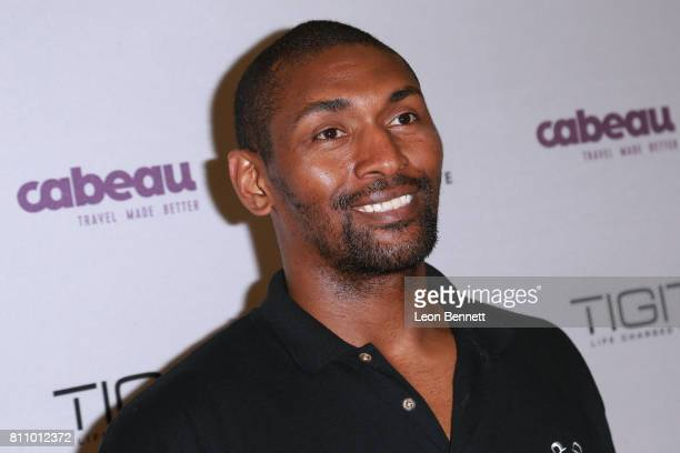 NBA player Metta World Peace of the Los Angeles Lakers attends the 3rd Annual Ariza Elevated Celebrity Charity Basketball Game on July 8 2017 in...