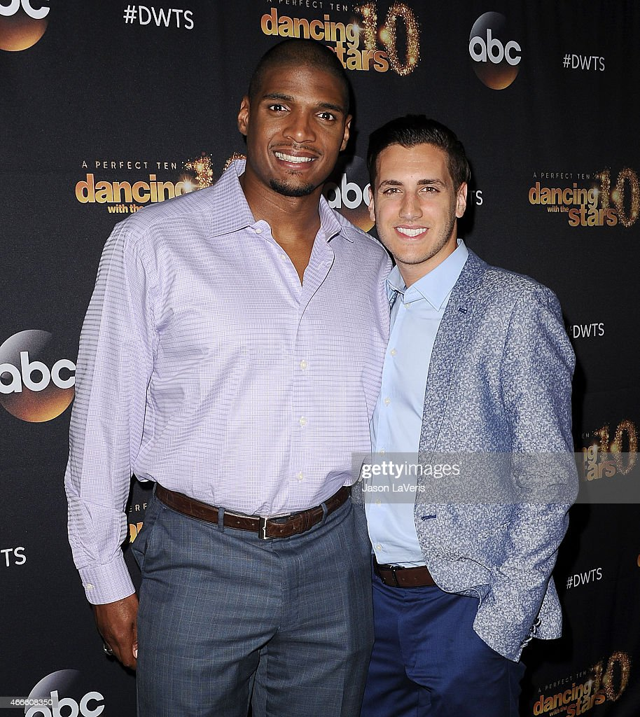 NFL player Michael Sam and fiance Vito Cammisano attend ABC's 'Dancing With The Stars' season premiere at HYDE Sunset: Kitchen + Cocktails on March 16, 2015 in West Hollywood, California.