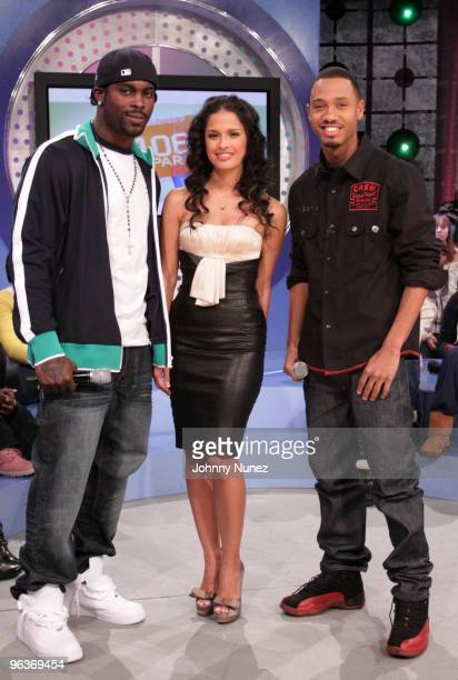 NFL Player Michael Vick visits BET's 106 Park with hosts Rocsi and Terrence J at BET Studios on February 2 2010 in New York City