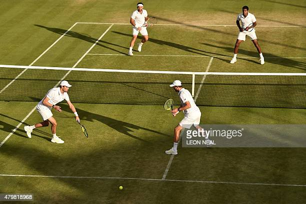 US player Mike Bryan and his partner Bob Bryan play against India's Rohan Bopanna and Romania's Florin Mergea during their men's quarterfinals match...