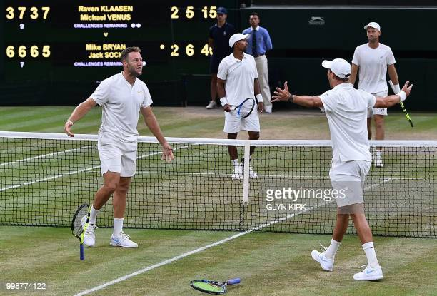 US player Mike Bryan and US player Jack Sock celebrate after beating South Africa's Raven Klaasen and New Zealand's Michael Venus 63 76 63 57 75 in...