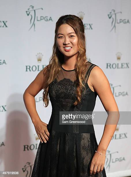 LPGA player Minjee Lee of Australia poses on the red carpet as she arrives to the LPGA Rolex Players Awards at the RitzCarlton Naples on November 19...