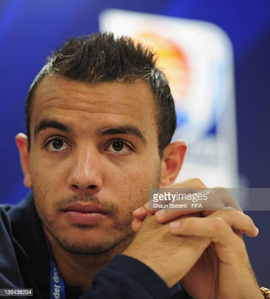Player Moez Ben Cherifia talks to the media during the Esperance Sportive de Tunis Press Conference at Toyota Stadium on December 10 2011 in Toyota...