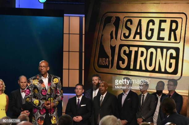 NBA player Monty Williams receives the Sager Strong Award on stage during the 2017 NBA Awards Live On TNT on June 26 2017 in New York City 27111_001