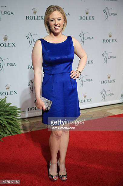 LPGA player Morgan Pressel poses on the red carpet as she arrives to the LPGA Rolex Players Awards at the RitzCarlton Naples on November 19 2015 in...