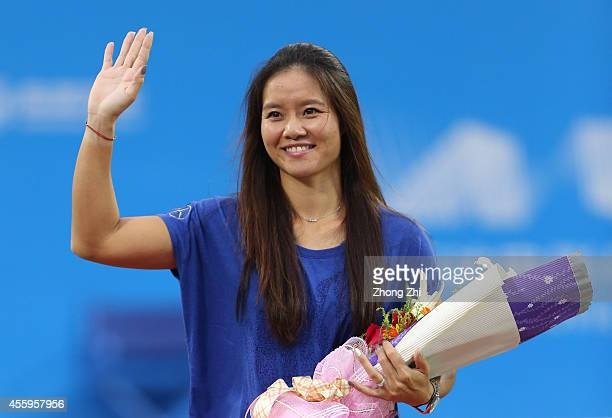 Player Na Li of China during her Retirement Ceremony on day three of 2014 Dongfeng Motor Wuhan Open at Optics Valley International Tennis Center on...