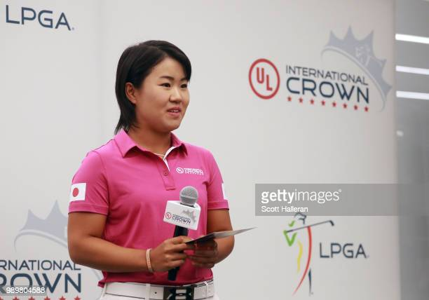 LPGA player Nasa Hataoka of Japan takes a question on stage at the UL International Crown Press Conference on July 2 2018 at the Underwriters...