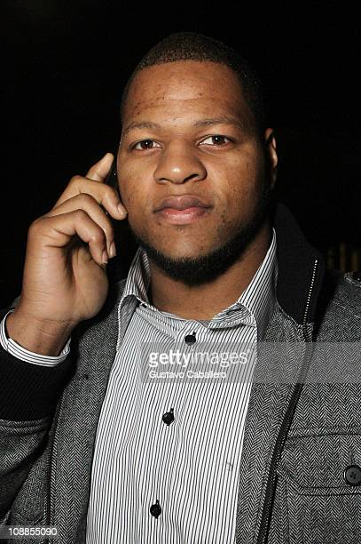 NFL player Ndamukong Suh of the Detroit Lions arrives with Jeep at the Maxim Party Powered by Motorola Xoom at Centennial Hall at Fair Park on...