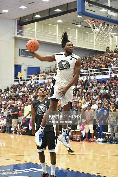 NBA player Nenê Hilario going up for a dunk at LudaDay Weekend Annual Celebrity Basketball Game at Georgia State University Sports Arena on September...