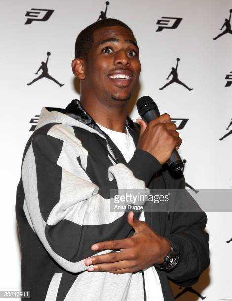 NBA player New Orleans Hornets point guard Chris Paul during an instore appearance at the Niketown store on October 13 2008 in Berlin Germany