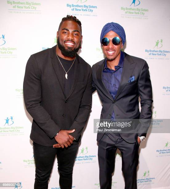 NFL player New York Giants Landon Collins and Nick Cannon attend the 18th Annual Big Brothers Big Sisters Of NYC Casino Jazz Night at Cipriani 42nd...