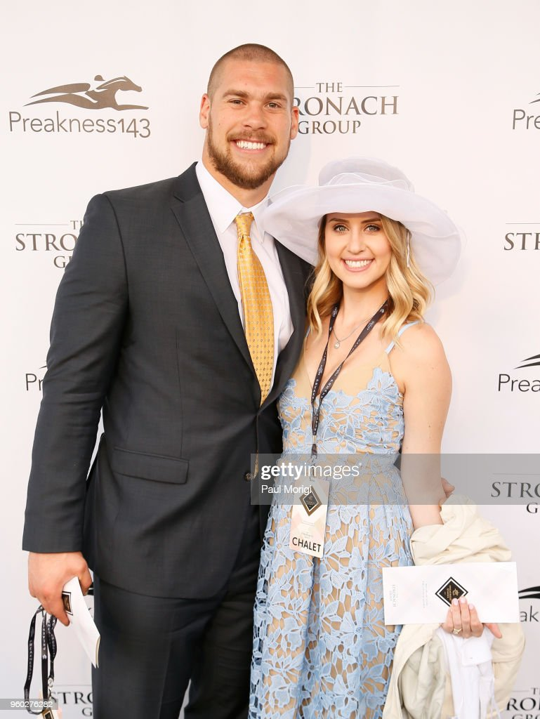 NFL player Nick Boyle (L) and Kristina Boyle attend The Stronach Group Chalet at 143rd Preakness Stakes on May 19, 2018 in Baltimore, Maryland.