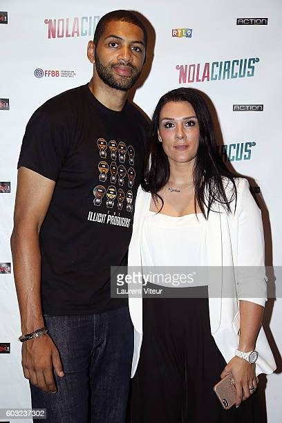 Player Nicolas Batum and his partner Aurelie attend the 'Nola Circus' Paris Premiere at Gaumont Opera Capucines on September 12 2016 in Paris France