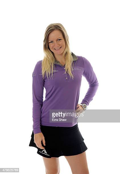 LPGA player Nicole Smith poses for a portrait prior to the start of the Founders Cup at the JW Marriott Desert Ridge Resort on March 18 2014 in...