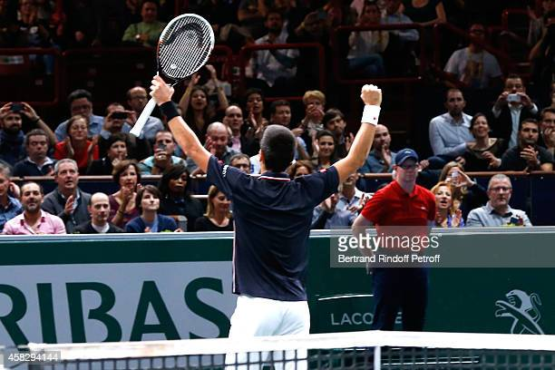 Player Novak Djokovic after he won the Final match during day 7 of the BNP Paribas Masters Held at Palais Omnisports de Bercy on November 2 2014 in...
