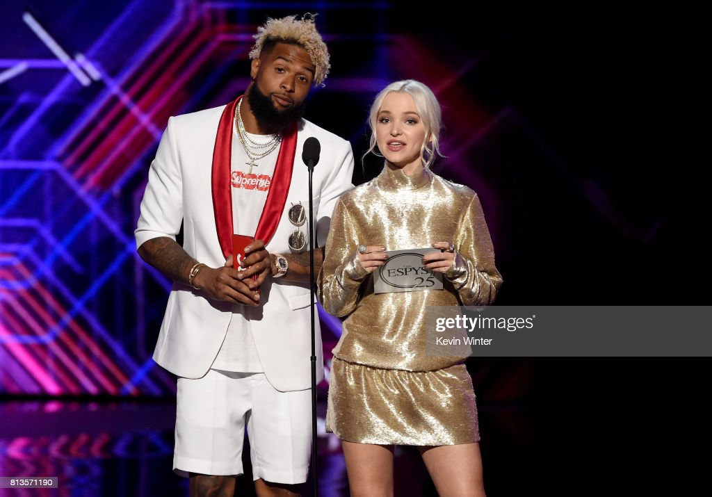 NFL player Odell Beckham Jr. (L) and actress Dove Cameron speak onstage at The 2017 ESPYS at Microsoft Theater on July 12, 2017 in Los Angeles, California.