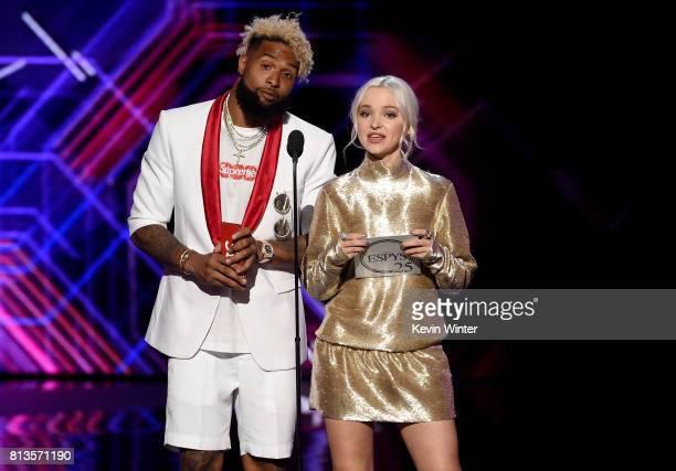 NFL player Odell Beckham Jr and actress Dove Cameron speak onstage at The 2017 ESPYS at Microsoft Theater on July 12 2017 in Los Angeles California