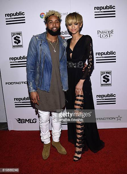 NFL player Odell Beckham Jr and actress Zendaya arrive at the Republic Records Private GRAMMY Celebration at HYDE Sunset Kitchen Cocktails on...